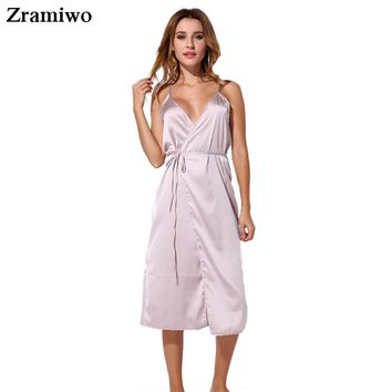 Long Satin Nightgown Comfy Deep V Nightie Sexy A-Line Wrap Slip Split Party Dresses Vestidos Holiday Lingerie