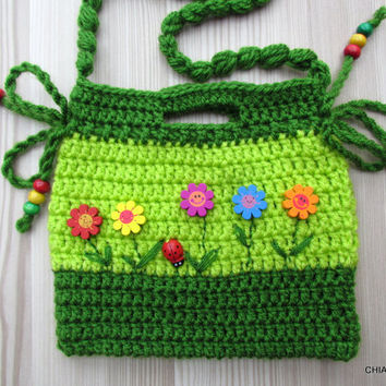 Purse small  Crochet.crocheted bag, gift Christmas, gift for girl. Crochet Clutch. Children Crochet Purse.Crochet bag for girls.