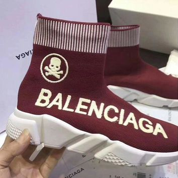 Balenciaga Women Men Popular Stretch Fabric Socks Boots Sport Shoe Wine Red I