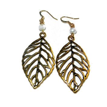 Gold Leaf Earrings, Gold Dangle Leaf Earrings with White Crystal Beads