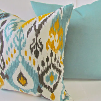 THROW PILLOWS SET of 2 18x18 Outdoor Mint Green Yellow ikat Throw Pillow Covers Aqua Turquoise Gray Indoor Outdoor Decorative Throw pillows