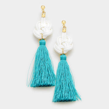 Turquoise & White Thread Tassel Knot Earrings