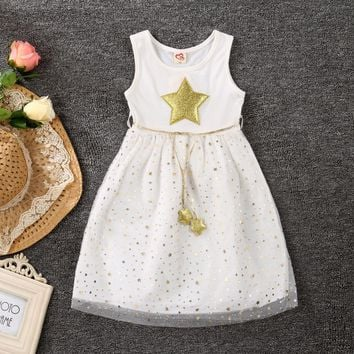 2017 New Summer Ball Gown Dresses For Girls A-Line Little Stars Children Costume Sparkle Princess Dress For Girl KIds Clothes