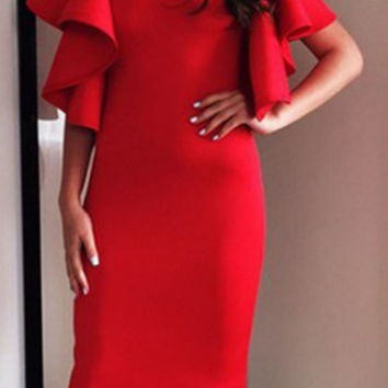 Red Layer Flounce Sleeve Knee Length Dress