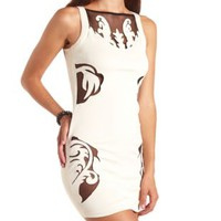 Baroque Mesh Cut-Out Bodycon Dress by Charlotte Russe - White Combo