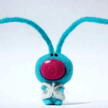 Etsy Transaction -          Turquoise hare - needle felted animal - OOAK toy - Gift - Made to order - Frien of Teddy Bear