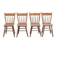 Pre-owned Rustic Wood Dining Chairs - Set of 4