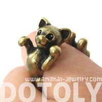 Realistic 3D Two Tailed Kitty Cat Animal Ring in Brass Sizes 5 to 9 US