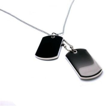 Tactical Army Style Black 2 Dog Tags Chain Beauty Mens Pendant Necklace for Men Jewelry 9ANB