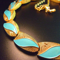 Enamel Turquoise KRAMER Necklace, Brushed Etched Gold Tone, Vintage