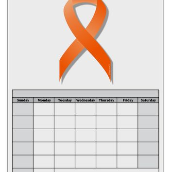 Leukemia Awareness Ribbon - Orange Blank Calendar Dry Erase Board