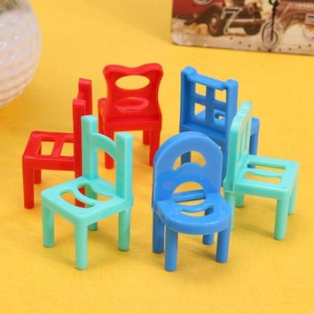 6pcs Hollow Geometric Chair for Barbie Dolls Children Pretend Play Plastic Chairs Accessories Furniture Play House plays Toys