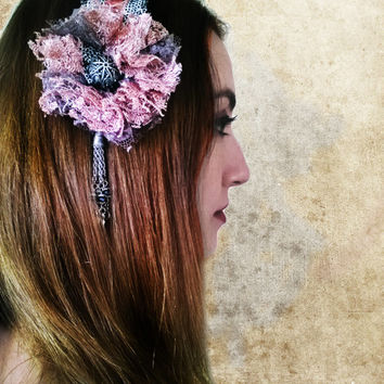 Beaded Belly Dance Headpiece, Pinky Tribal Fusion  Headdress