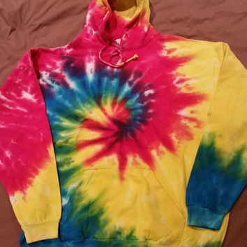 TIE DYE HOODIE - Rainbow colored tiedye pullover hoodie sweatshirt tyedye - All Adult Sizes + Oversize S M L xL 2XL 3XL Available