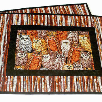 Owl Placemats, Quilted Fall Placemats, Fabric Table Mats, Set of 2 Placemats, Table Quilt, Quiltsy Handmade