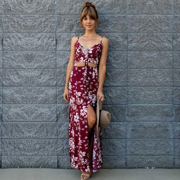 Red Bohemian Floral Print High Slit Dress