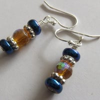 Blue and Gold Crystal Earrings