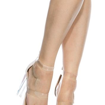 Nude Faux Suede Clear Multi Strap Chunky Heels @ Cicihot Heel Shoes online store sales:Stiletto Heel Shoes,High Heel Pumps,Womens High Heel Shoes,Prom Shoes,Summer Shoes,Spring Shoes,Spool Heel,Womens Dress Shoes