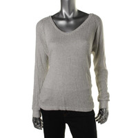 VELVET BY GRAHAM & SPENCER Womens Metallic V-Neck Knit Top