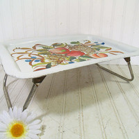 Vintage Colorful ToleWare Bed Tray Folding Table - Retro Metal EnamelWare Portable Desk Design - Shabby Chic / BoHo Bistro Serving / Display