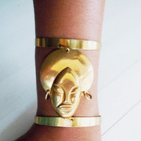 Afro Queen Cuff Bracelet - Brass - Billie Holiday -  Boho Goddess Jewelry