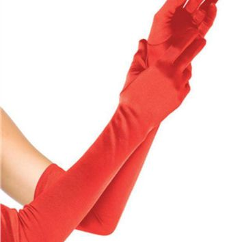 ESBI7E EXTRA LONG SATIN GLOVES in RED