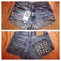 ONLY ONE! 25 Inch Waist Cheeky Shorts w/ Studded Pocket from ShopWunderlust
