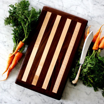 Handmade mixed wooden cutting board. Maple and Walnut for French Country kitchen decor.