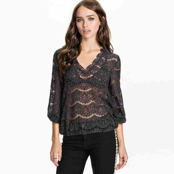 Grey Lace V-Neck Sleeve Top