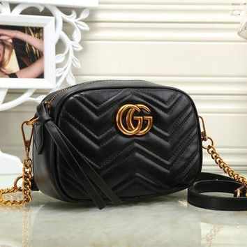 DCCK6HW Gucci' Women Simple Fashion Zip Double G Logo Metal Chain Single Shoulder Messenger Bag