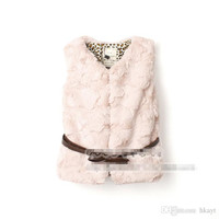 2015 Trendy Autumn Winter Children Clothes Cotton Girls Soft Warm Fur Padding Coat Waistcoat with Belt Jacket Overwear Overcoat Pink/Beige.