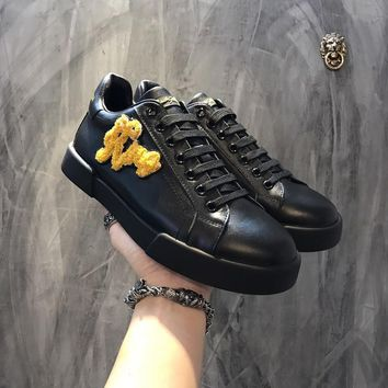 Dolce & Gabbana D & G Portofino Sneakers In Nappa Calfskin With Patches Cs15875268i706
