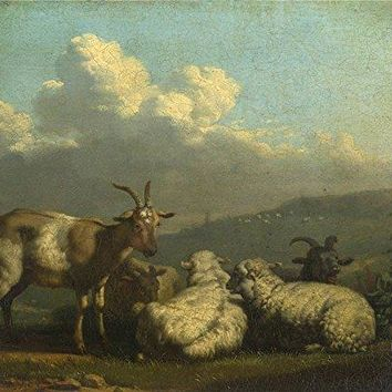 Oil Painting Sheep And Goats  Printing On Perfect Effect Canvas , 12 X 14 Inch / 30 X 36 Cm
