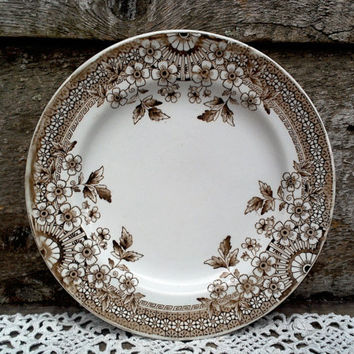 "Antique Brown and White Floral Transferware Plate, ""FOLEY"", England, 7 1/4"", Aesthetic, Staffordshire, Serving, Wall Display, Ironstone"