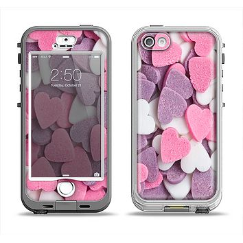 The Pink and Purple Candy Hearts Apple iPhone 5-5s LifeProof Nuud Case Skin Set