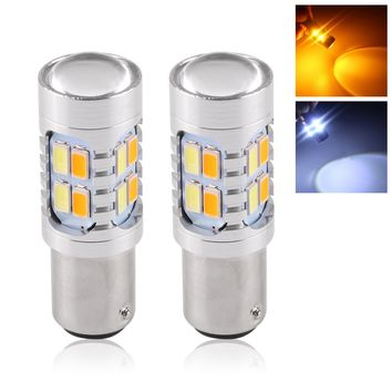 2pcs 20W Amber/White 1157 BAY15D SMD Car Bulbs Switchback LED Drive Dual Color DRL Turn Signal Light Fog Lamp