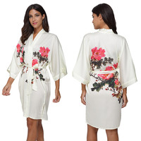 High Quality Satin Bridesmaid Robes Sexy Floral Print Bride Wedding Kimono Robe Women Nightgown Sleepwear Bathrobe Loungewear