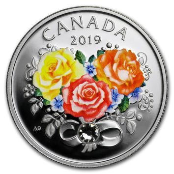 2019 Canada 1/4 oz Silver $3 Celebration of Love (Roses)