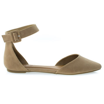 Sequel87M Natural By Bamboo, Women's Pointed Toe Flat w Double Open Shank d'Orsay Cut & Ankle Strap