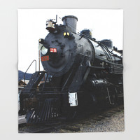 Vintage Railroad Steam Train Throw Blanket by gx9designs