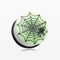 A Pair of Glow in the Dark Spider Web Single Flared Ear Gauge Plug