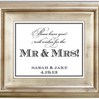 Well Wishes for the Mr and Mrs 8x10 Please Sign our Guest Book Wedding Sign Customized Personalized Typography Art Print