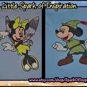 His & Hers - Minnie and Mickey as Tinkerbell and Peter Pan Disney Couples T-Shirts