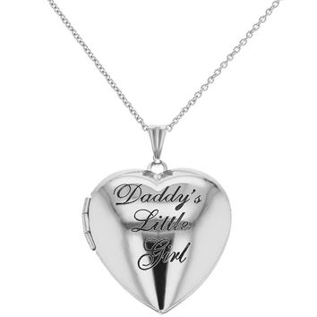 "Photo Locket Girls Heart Pendant Necklace ""Daddy's Little Girl"" 19"""