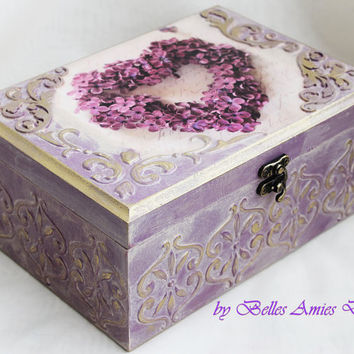 Tea box, personalized jewelry box, wedding gift, lilac, shabby chic box, housewarming gift, personal message box , jewelry box with heart