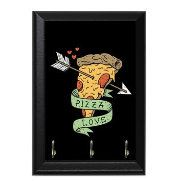 Pizza Love Decorative Wall Plaque Key Holder Hanger