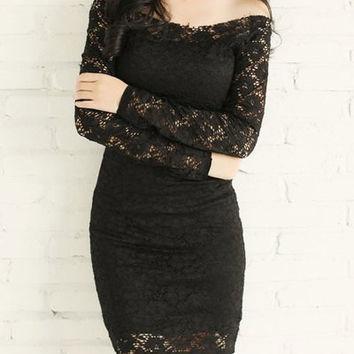 Black Slash Collar Long Sleeve Lace Mini Dress