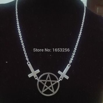24'' Silver Stainless Steel INVERTED CROSS & PENTAGRAM NECKLACE - goth deathrock steampunk biker satanic NEW