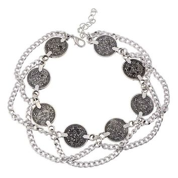 MJARTORIA 1PC Bohemia Coin Pattern Charms Anklet Fashion Metal Silver Color Foot Braclets Jewelry For Women Ankle Bracelet Chain