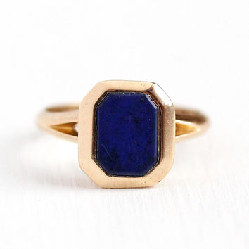 Lapis Lazuli Ring - Antique Art Deco 10k Rosy Yellow Gold Blue Gemstone - Vintage 1920s Size 4 Fine Statement Pyrite Inclusions Jewelry